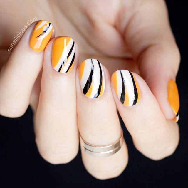 mustard-black-and-white-nails via
