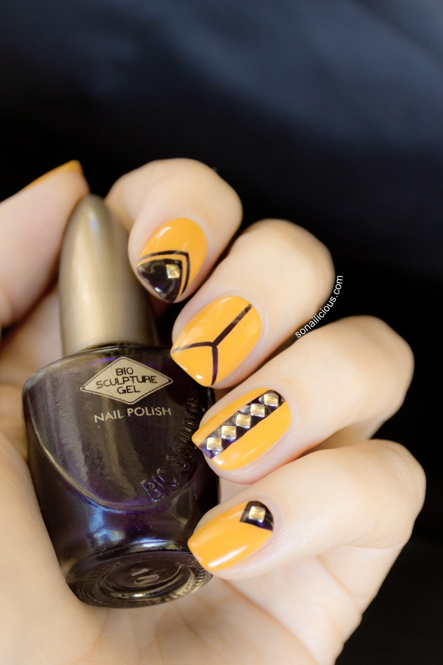 mustard-nails-with-gems via