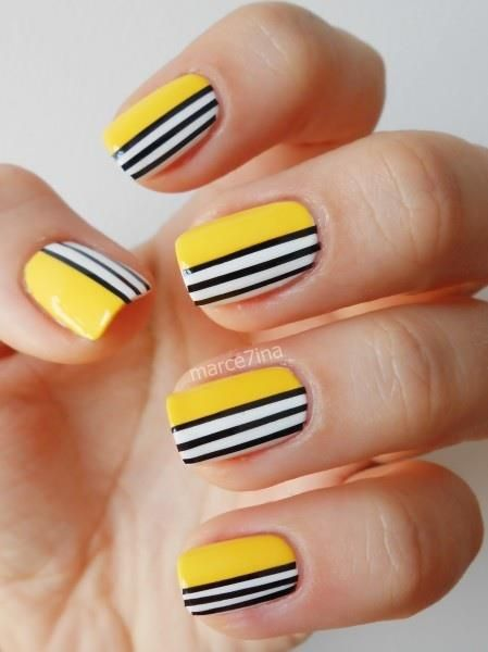 mustard-nails-with-lines via