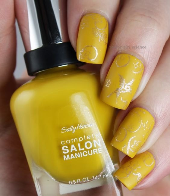 mustard-nails-with-stamping via