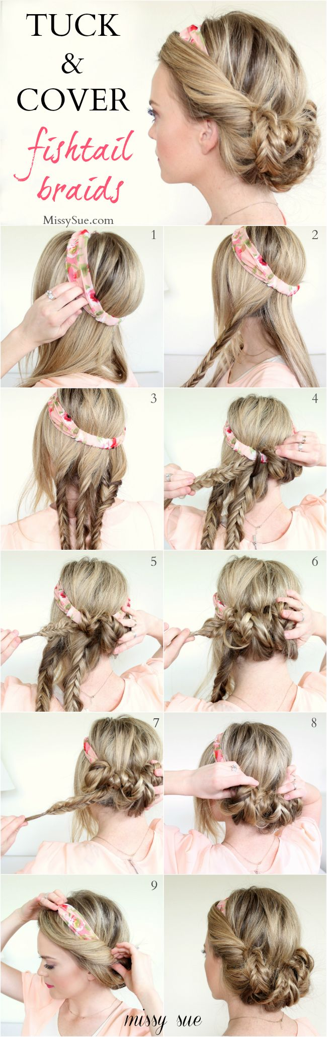Tuck and Cover Fishtail Braids: