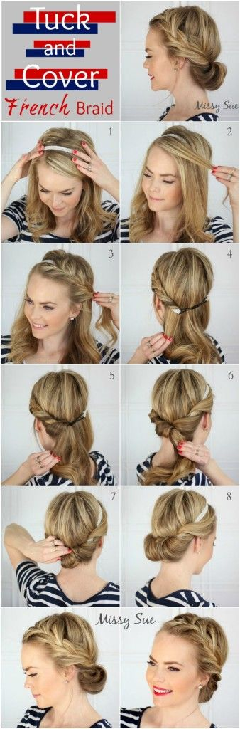This Tuck and Cover French Braid is the perfect way to keep hair out of your face during the hot summer!: